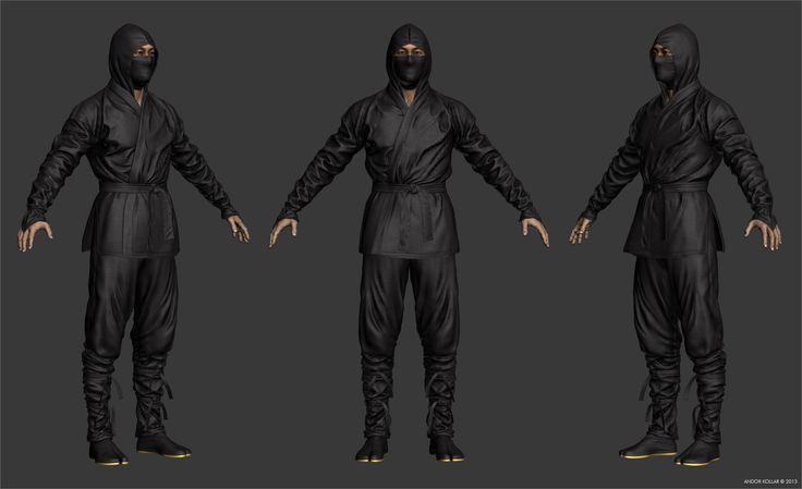 Textured Ninja character T-Pose