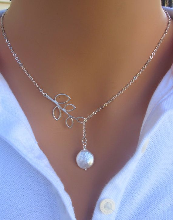Coin Freshwater Pearl and Branch Lariat Sterling Silver Wedding Necklace , Bridesmaids Gift , Jewelry