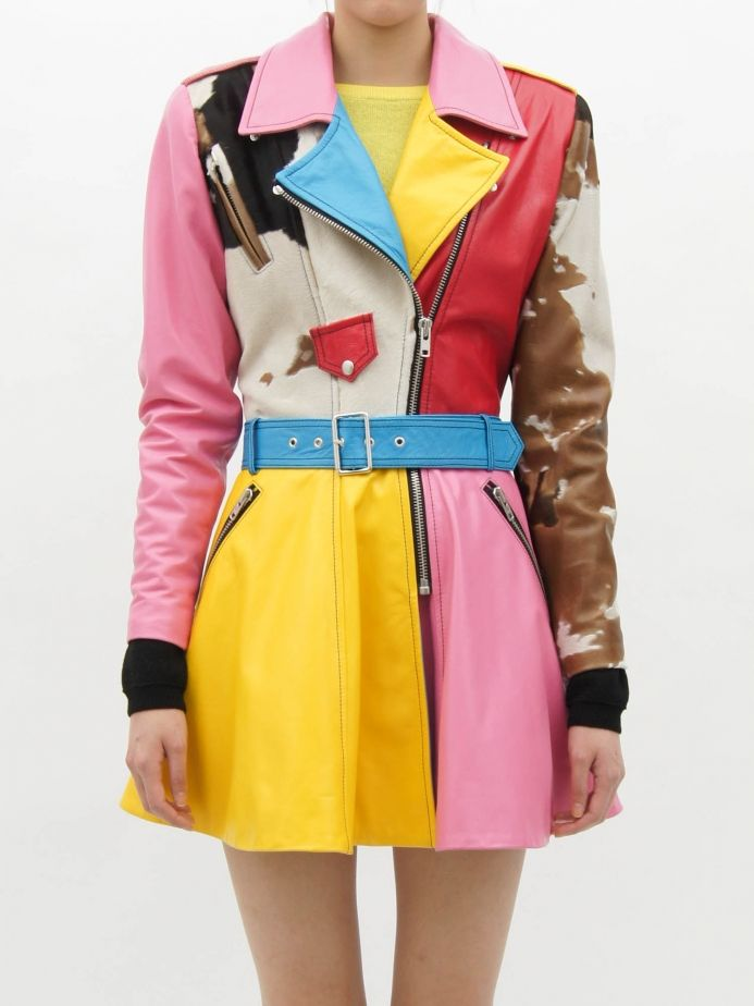 Jeremy Scott  LEATHER BIKER COAT  IT'S SO COLORFUL!<3 I've always wanted a coat like this. xD
