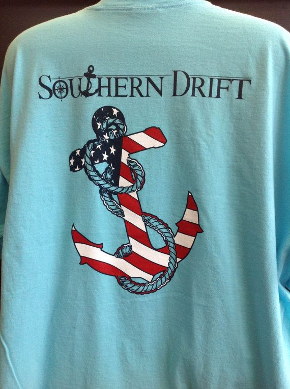 Southern Drift Long Sleeve Pocket Tee Anchor Shirt. (Available in multiple colors)