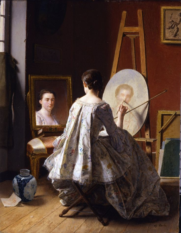 Portrait of an Artist Painting Her Self Portrait (19th C.). Jean Alphonse Roehn (French, 1799-1864).  YES, this is a 19th century painting, but the quality of the clothing led me to believe that the model posed in real 18th century clothing.