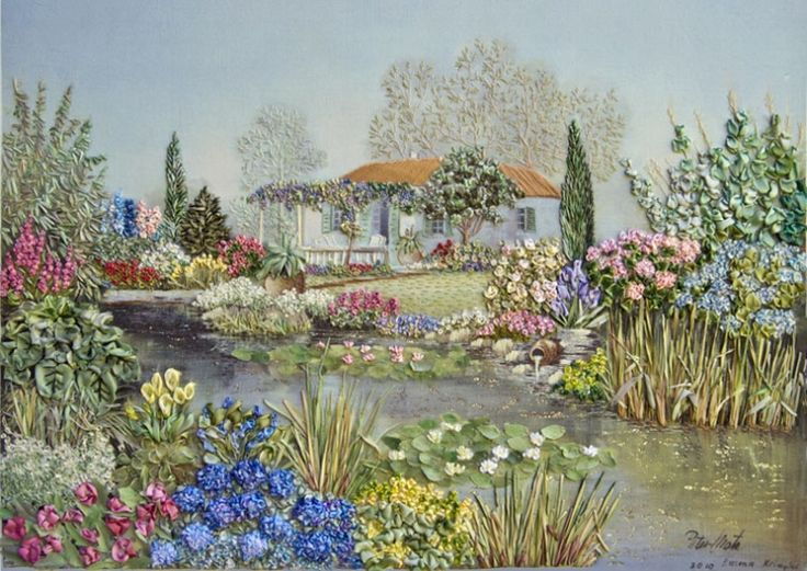 Ribbon embroiderd cottage gardens notice undefined