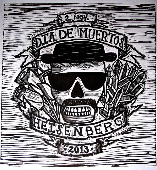 Dia de Muertos linocut print by Memo Vigil in Saltillo, Mexico Para los Fans de Breaking Bad.