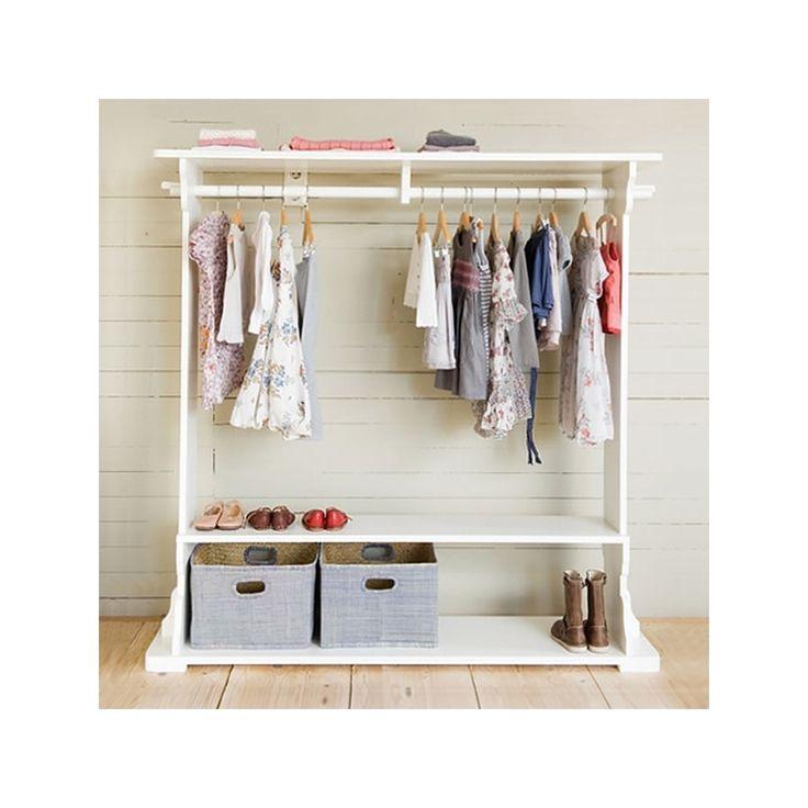 Holz Garderobe mit Kleiderstange 'Romy' weiß
