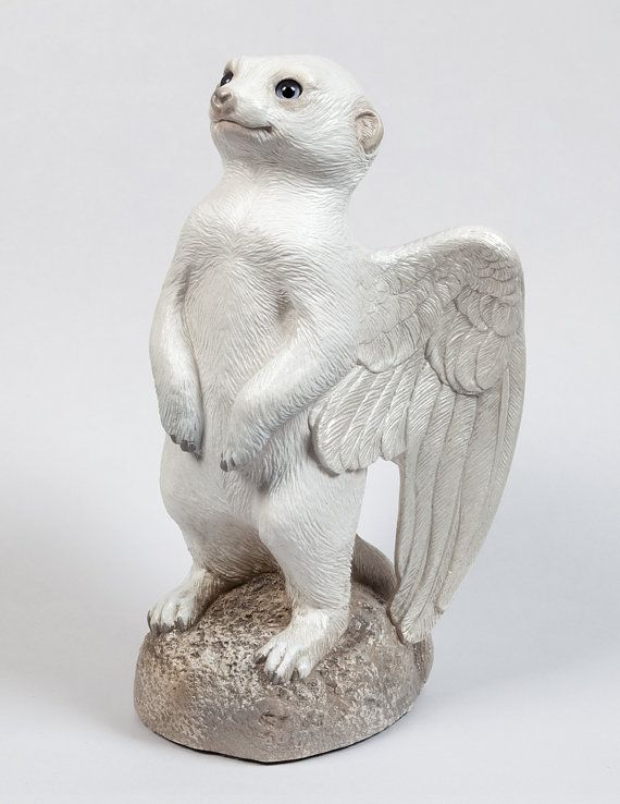 Winged Baby Meerkat Sculpture --Snow White with Periwinkle Eyes --Handmade…