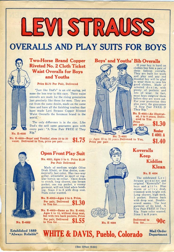 Levi Strauss Catalog, 1920's