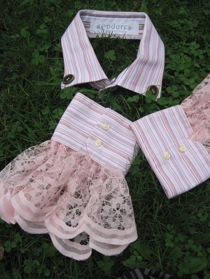 Steampunk Clothing | Upcycled Steampunk Clothing - Shirt Collar and Cuffs Light Pink with ...