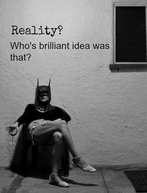 Some days this is exactly how I feel. Superhero cape, mask, glass of wine and all.