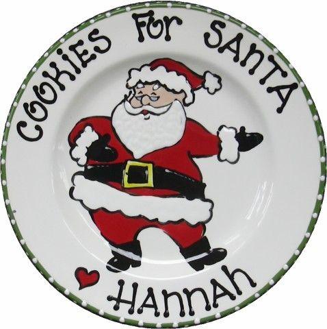 Cookies for Santa Santa Cookie Plate Custom by BrushStrokePlates