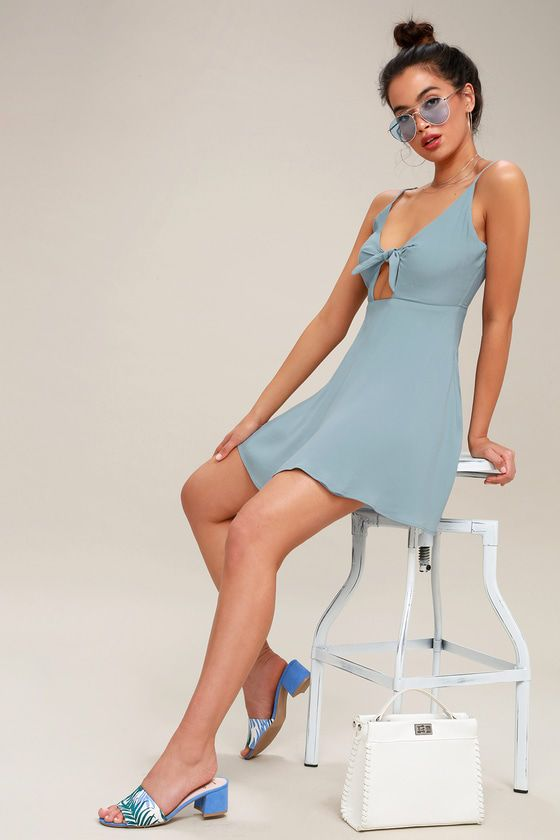 d26d152b7 Let your outfit do all the talking for you with the Play It Cool Light Blue  Tie-Front Skater Dress! A sexy sleeveless bodice (made from a woven rayon  blend) ...