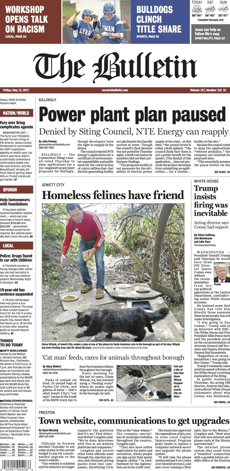 Friday, May 12, 2017 - Subscribe to The Bulletin today: http://www.norwichbulletin.com #ctnews #newlondoncounty #windhamcounty