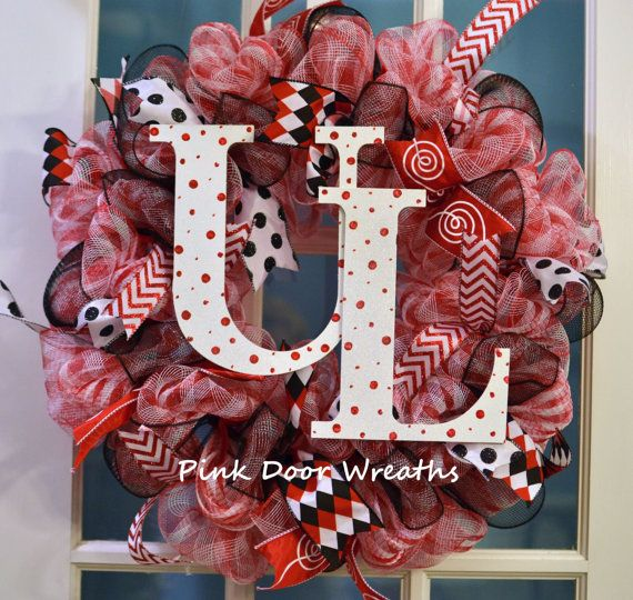 Wreath University of Louisville Cardinals U of L UL Red Black white mesh ribbons sports any team - made to order