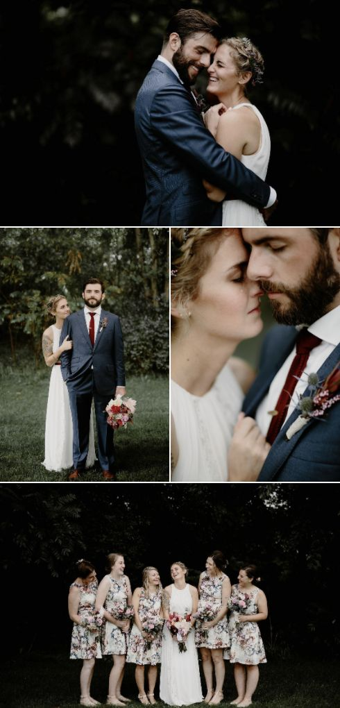Intimate wedding with the groom in navy and deep red and a easy going white wedding dress | Brad and Jen Photography