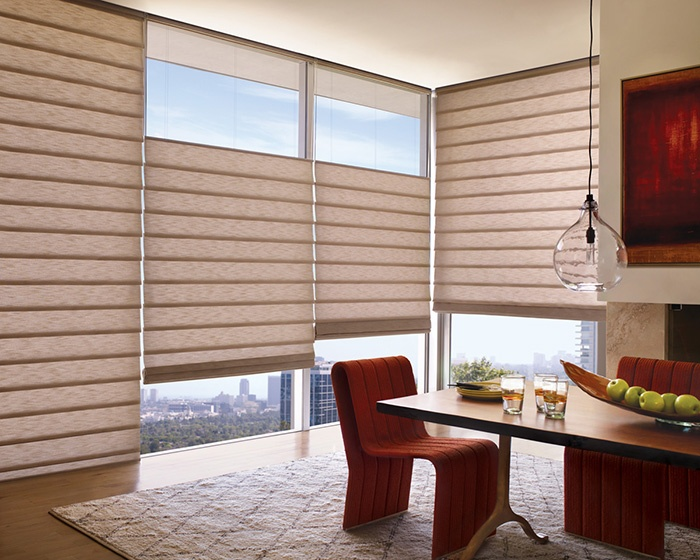 A Motif Of Folds And Curves In Warm Reddish Huesa Gorgeous Dining Room Window Treatment Alustra VignetteR Modern Roman Shades Hunter Douglas
