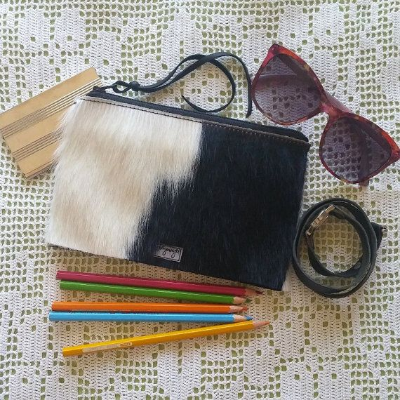 8 x 5 in Zipper Pouch Clutch Purse or Pencil Case Genuine Hair On Leather Cow Hide bound with Waxed Thread Deer Skin Lace Zipper Pull