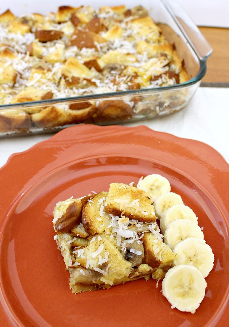 Hawaiian Overnight French Toast Casserole - Bananas and coconut give this recipe a tropical twist!