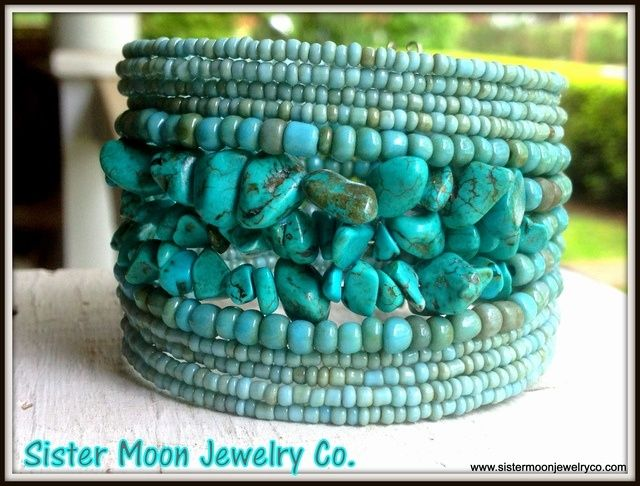 Rows and rows of seed beads and turquoise chips strung by hand to form a stunning turquoise bracelet.....Perfect for the summer. Will fit average size wrist.