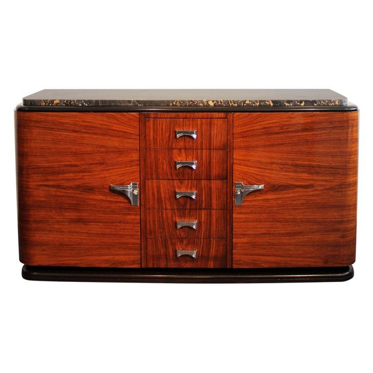 41 in.Hx78 in.Wx22 in.D  French Art Deco Mahogany Sideboard Designed by G. Poisson | 1stdibs.com