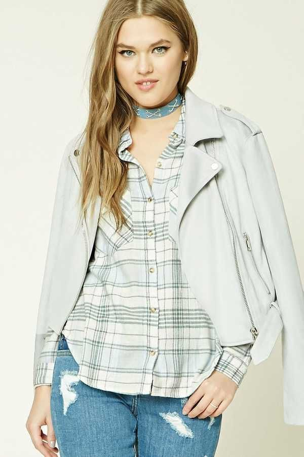 FOREVER 21 Plaid Flannel Shirt Female Fashion and Woman Style. Klick to see the Price