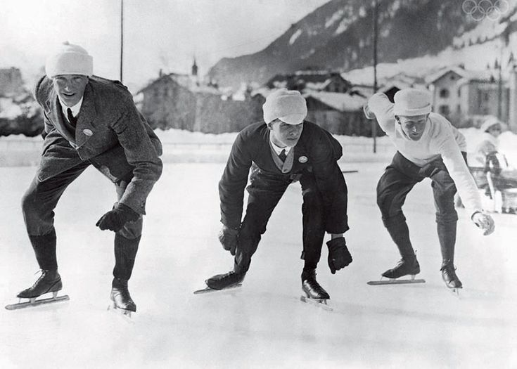 Speedskaters at the starting line | The Athletes of the First Winter Olympics: What skaters, ski jumpers, and curlers looked like in 1924 | Slate