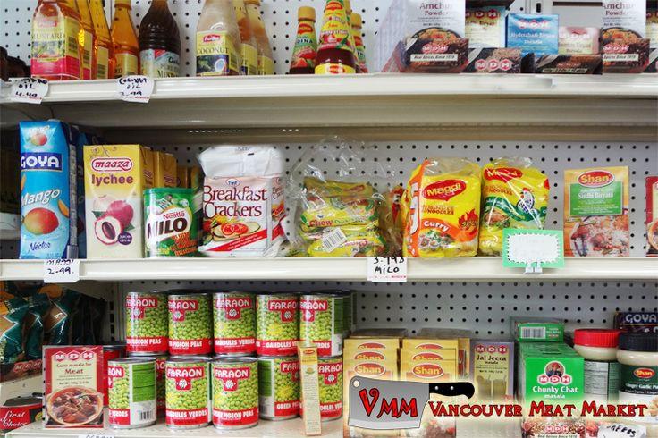 faraon peas, milo, goya mango, coconut oil, mustard oil, maaza lychee, maggi soups, mda mixes, shan mixes, fmf breakfast crackers at Vancouver Meat Market
