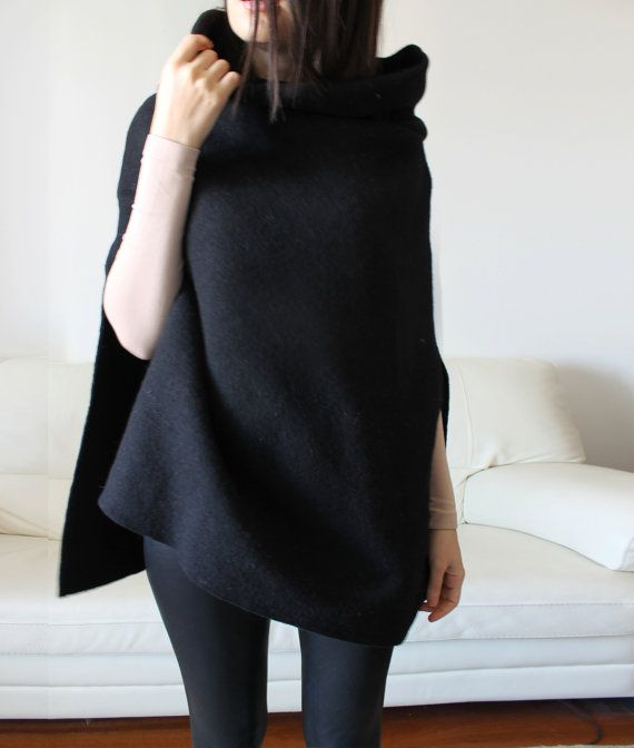 Wool coat Italian black wool cape high quality by Afycollection