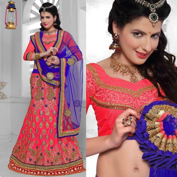 Lehenga: Lehenga style - with pink banarasi silk blouse and blue net dupatta. perfect for party wear.