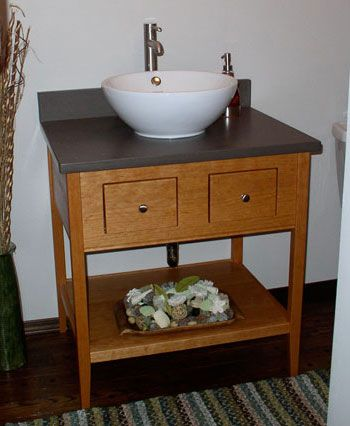 Single Height Apron Open Style Vanity With 2 Drawers