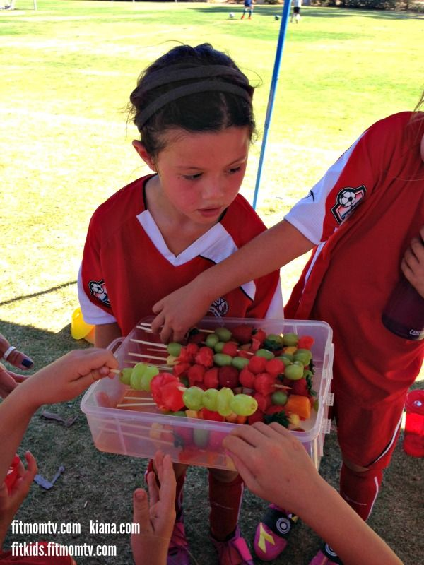 Share :) Juicy Fit Mom Fruit Kabobs Healthy Snacks for my daughter's Soccer Team! ️️️ My 7 year old daughter has been playing soccer since she was 4 years old.  She and I discuss what healthy snacks her team mates would enjoy at half time and after the game.  Then we go to the market and make the snacks together.  She is so excited to hand out the snacks that she helped make :)