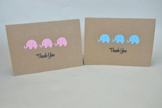 Elephant Thank You Card Set Elephant Baby Shower by FreshGifts, $15.00