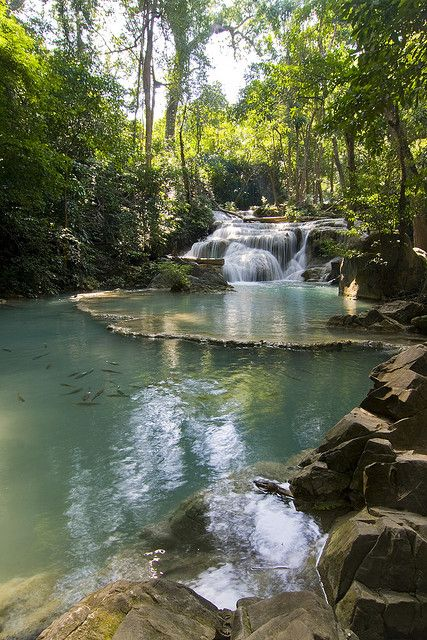 Erawan Waterfalls National Park in Kanchanaburi Province, Thailand