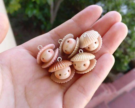 Fascino di ostrica - conchiglia fascino - vongole - Polymer Clay fascino - Kawaii Polymer Clay fascino - oceano a tema - conchiglie - rame - Pearl - Rosa