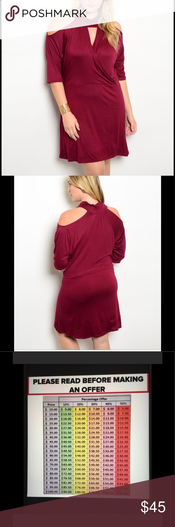 "Beautiful Burgundy peek a boo shoulder Plus Size Make yourself feel beautiful in this burgundy dress that has some great features. Shoulders exposed, with 3/4 sleeve. Criss cross neckline. Comfortable material for a night out. A must have for your closet! Variety of sizes! 050820179754565 Country: USA Fabric Content: 65% RAYON 35% VISCOSE Size Scale: 1XL-2XL-3XL Description: L: 39"" B: 46"" W: 42"" 1XL Dresses Mini"