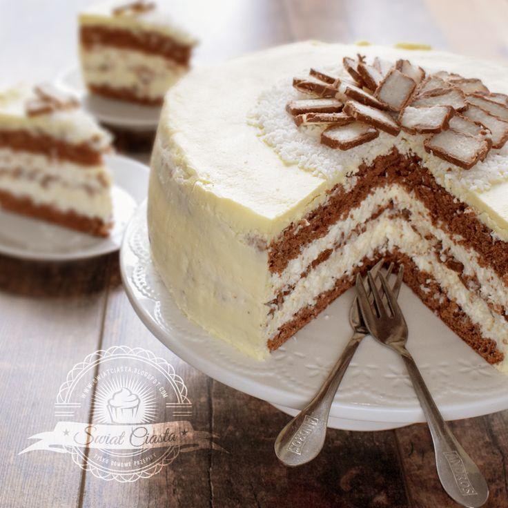 Ciasto Bounty z polewą z białej czekolady | Świat Ciasta