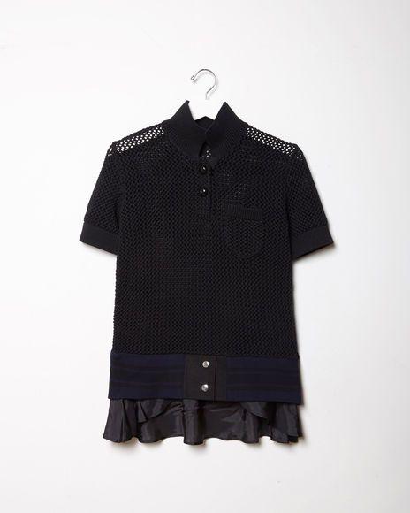 Sacai | Knit Polo Sweater | La Garçonne