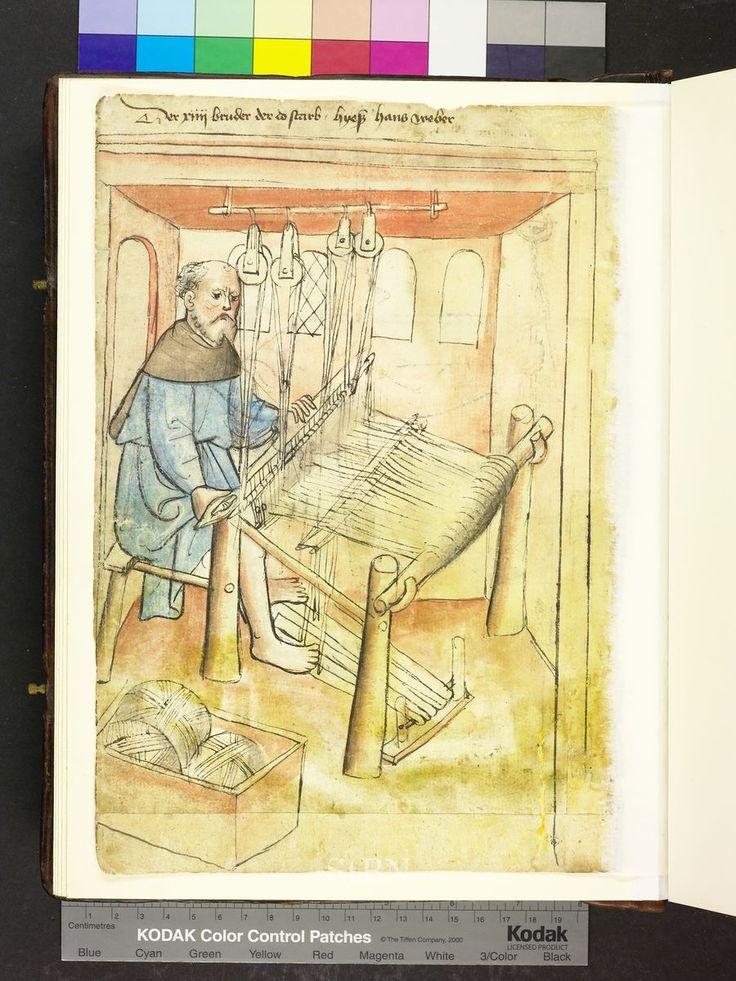 1425 loom and balls of wool  Die Hausbücher der Nürnberger Zwölfbrüderstiftungen