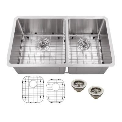 Schon Undermount Stainless Steel 32 in. Double Bowl Kitchen Sink-SCRA604016 - The Home Depot
