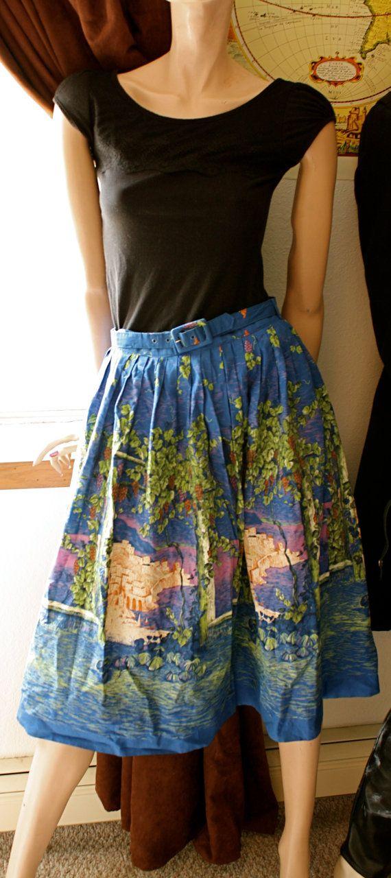 Vintage 1960's Circle Skirt - Arbor Grapes Seaside Town Print. $50.00, via Etsy.