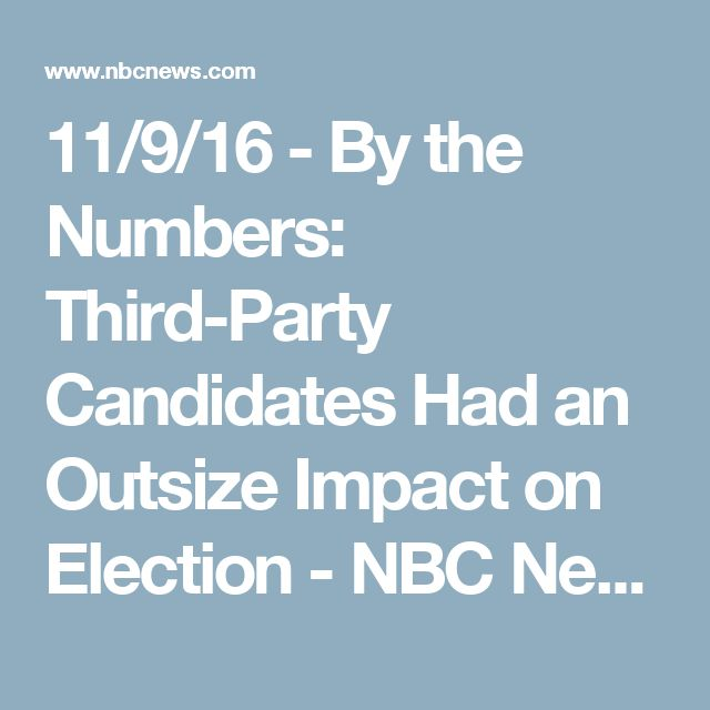 11/9/16 - By the Numbers: Third-Party Candidates Had an Outsize Impact on Election - NBC News