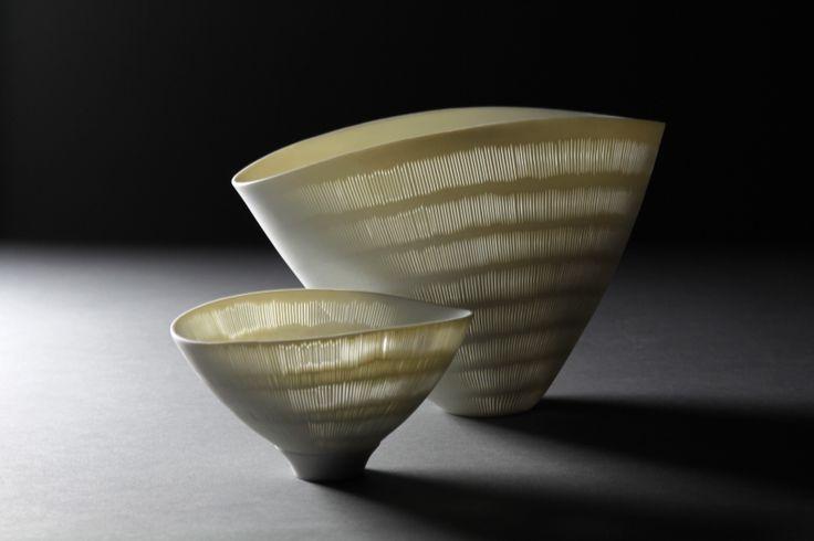 Perforated high translucent porcelain bowls by Linda Prüfer