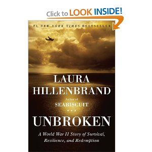"""Unbroken: A WWII story of survival, resilience and redemption."" the inspiring true story of a man who lived through a series of catastrophes almost too incredible to be believed. In evocative, immediate descriptions, Hillenbrand unfurls the story of Louie Zamperini--a juvenile delinquent-turned-Olympic runner-turned-Army hero. During a routine search mission over the Pacific, Louie's plane crashed into the ocean, and what happened to him over the next three years of his life is a story that…"
