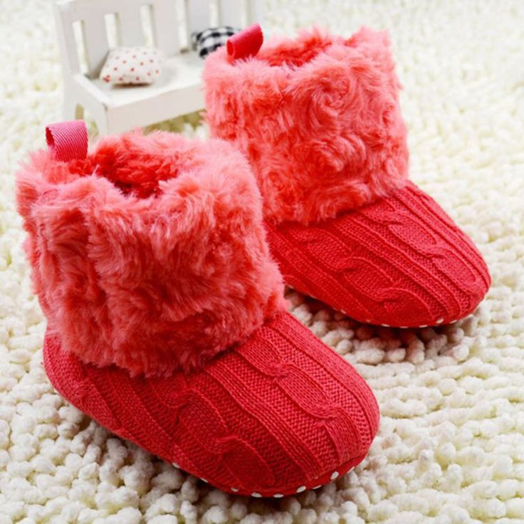 Baby Shoes Infants Crochet Knit Fleece Boots Wool Snow Crib Shoes Toddler Boy Girl Winter Booties