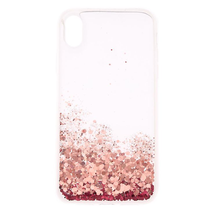 Claires pink glitter cascade protective phone case fits
