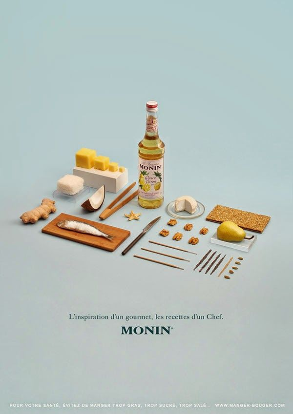 Project Love: Les Sirops de Monin. Nice angle of neatly organised objects/ layout photography
