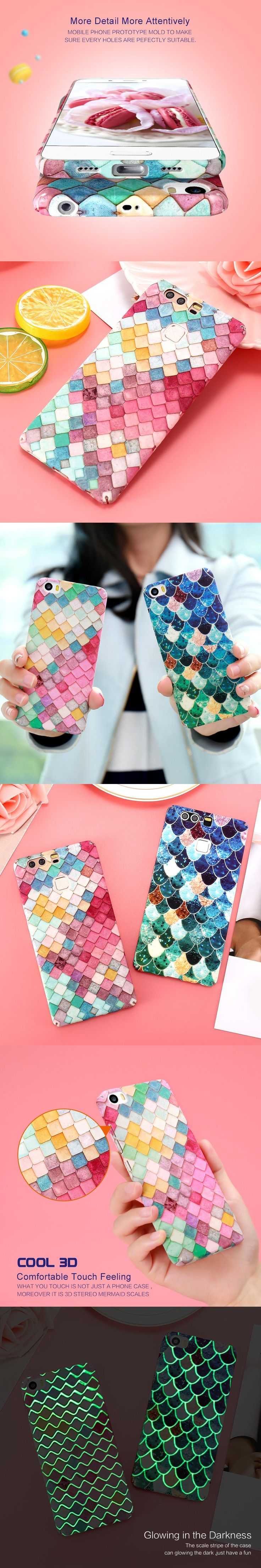 DOEES Vogue Colorful Phone Case For iPhone 5 5S SE 6 6s 7 Plus Cute Mermaid Hard Cover For Samsung S7 Edge S8 Plus Xiaomi Huawei