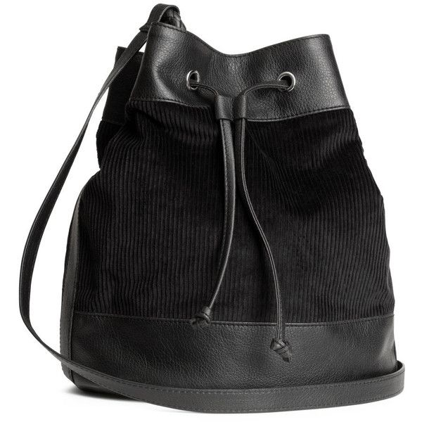 H&M Corduroy bucket bag ($7.85) ❤ liked on Polyvore featuring bags, handbags, shoulder bags, accessories, purses, h&m, backpacks, black, black drawstring backpack and drawstring purse