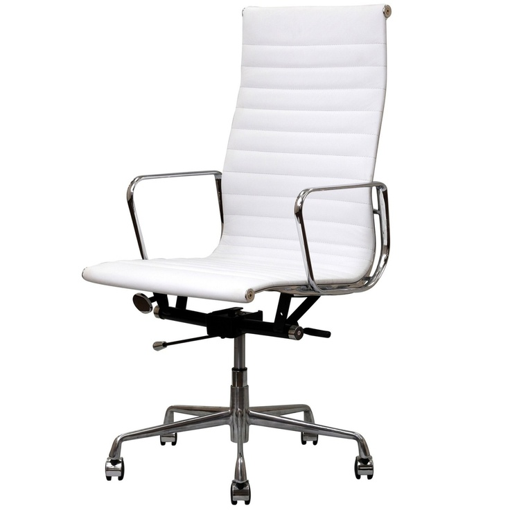 white genuine leather ribbed high back office chair