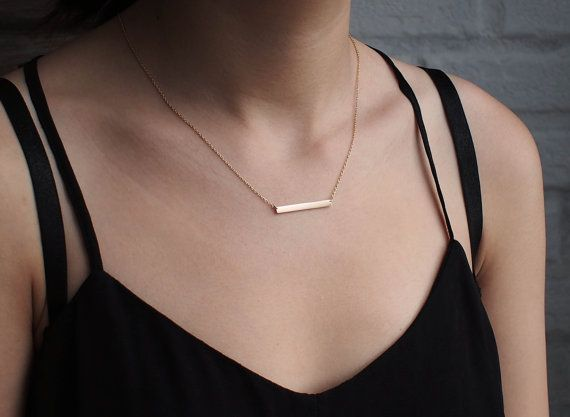 Bar Necklace, Personalized Engraved Name Plate Necklace, Medium Skinny Bar Necklace D3.30