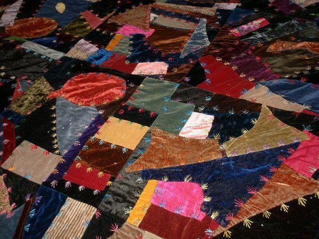 Velvet crazy quilt: stitches