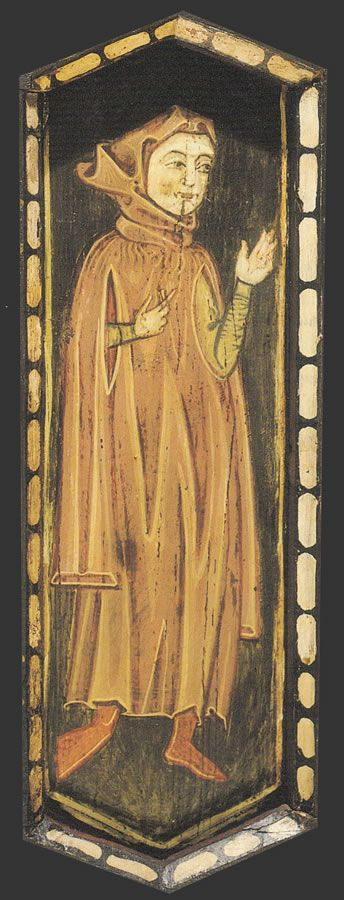 """Gardecorps (Surcotte) in this instance said to identify """"a man of letters"""" (like a doctor or lawyer), Teruel Cathedral (Spain). Image from the nave ceiling, late 13th century. See also http://www.aragonmudejar.com/teruel/pag_catedral/techumbre00.htm and http://www.aragonmudejar.com/teruel/pag_catedral/tabica04.htm"""